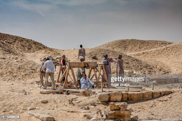 Workers in an archaeological excavation in Saqqara