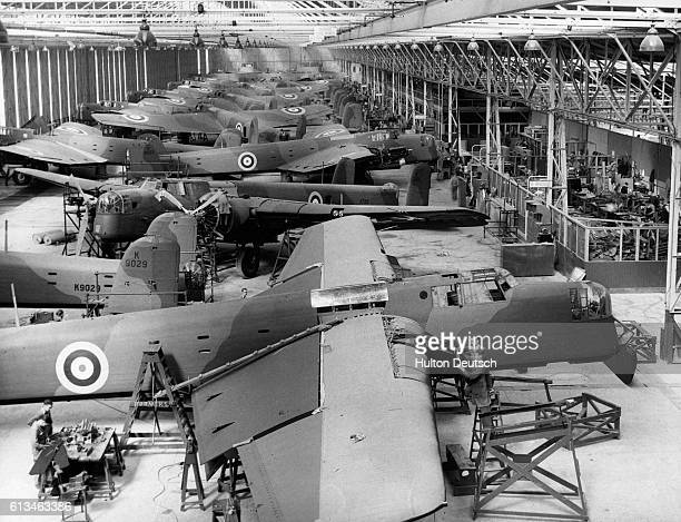 Workers in Coventry assemble Armstrong Whitworth Whitley bombers.