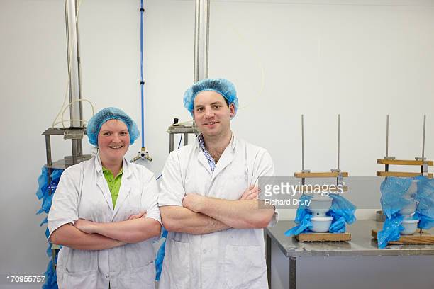 Workers in goats cheese production unit