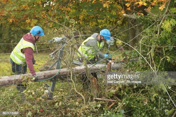 Workers in Kilcock Ireland clear fallen power lines after Hurricane Ophelia batterred the UK and Ireland with gusts of up to 80mph