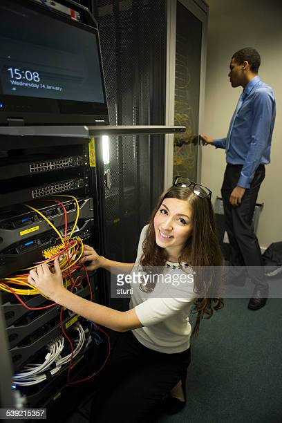 IT workers in server room