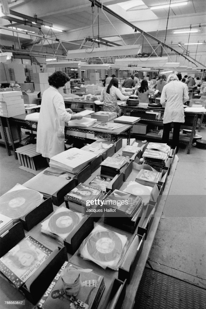 Workers in the Decca disc factory.