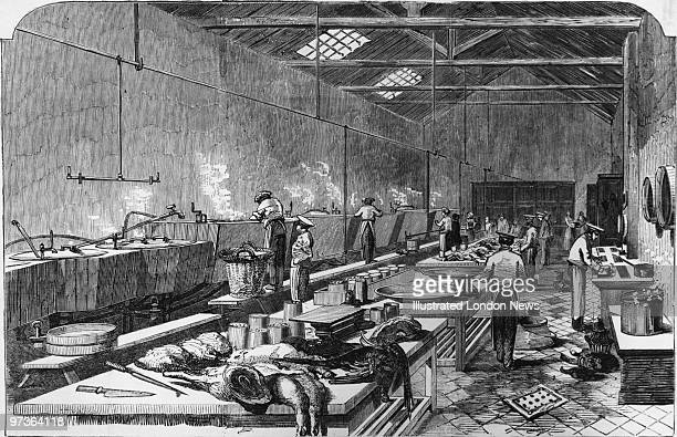 Workers in the kitchens of Ritchie And McCall's meat processing establishment in Houndsditch London circa 1950 The company sells preserved meat...