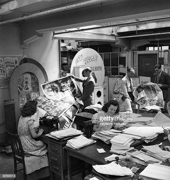 Workers in the publicity department of RKO Pictures head office in Soho London