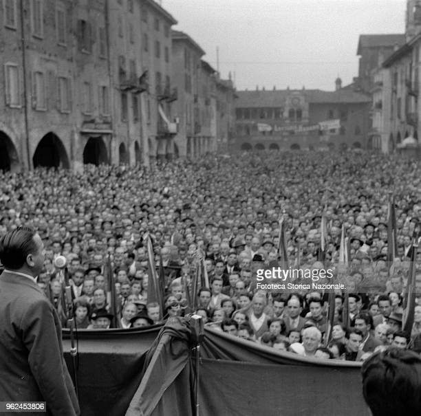 Workers in the square attend the ceremony for the 60th anniversary of the founding of the Chamber of Labor of Pavia in the presence of Giuseppe Di...