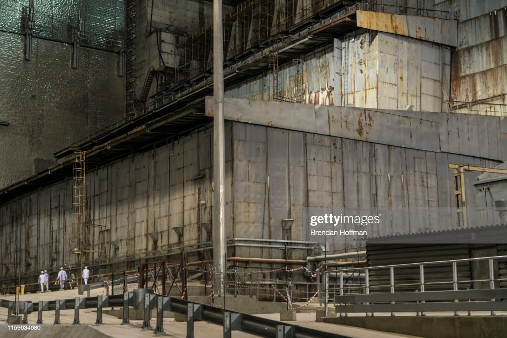 Workers inside the 'New Safe Confinement' which contains the