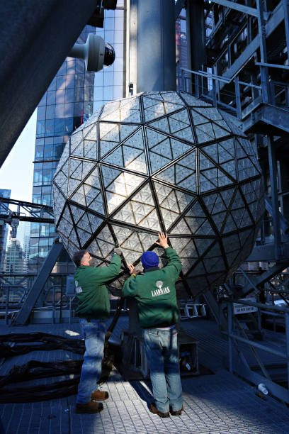 NY: Workers Install Waterford Crystals On Times Square New Year's Eve Ball
