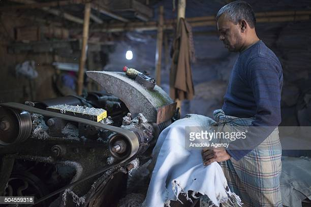 Workers is seen on duty at Hazaribagh Tannery in Dhaka, Bangladesh on January 11, 2016. Industry Minister of Senegal Amir Hossain Amu has ordered...