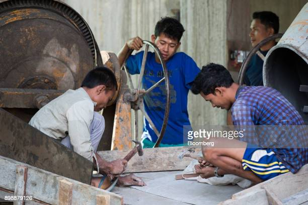 Workers labor at a construction site for a hotel in Dawei Myanmar on Friday Dec 22 2017 As the US and Europe grow increasingly outraged over the...