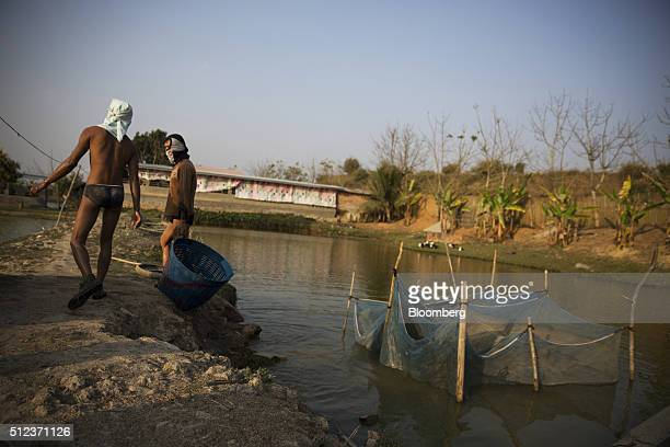 Workers leave a pond after putting caught fish in a holding pen at a fish farm in Kengtung Myanmar on Friday Feb 19 2016 Though Aung San Suu Kyi will...