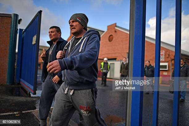 Workers leave the BAE Systems yard in Govan following their shift on November 04 2016 in Glasgow Scotland Work on building eight Type 26 frigates at...