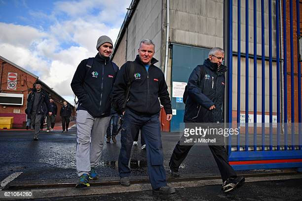 Workers leave the BAE Systems yard in Govan following their shift on November 4 2016 in Glasgow Scotland Work on building eight Type 26 frigates at...