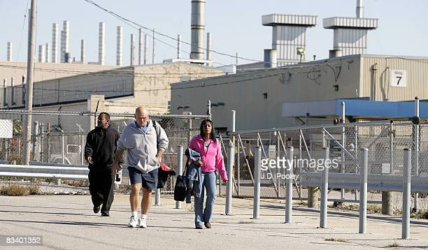 Workers leave the Daimler Chrysler Toledo North Assemby Plant October 23 2008 in Toledo Ohio Chrysler LLC announced that it will eliminate around 800...