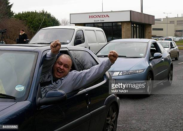 Workers leave the Honda car factory in Swindon southwest England on January 30 2009 Workers at Honda's British factory made the last cars Friday...