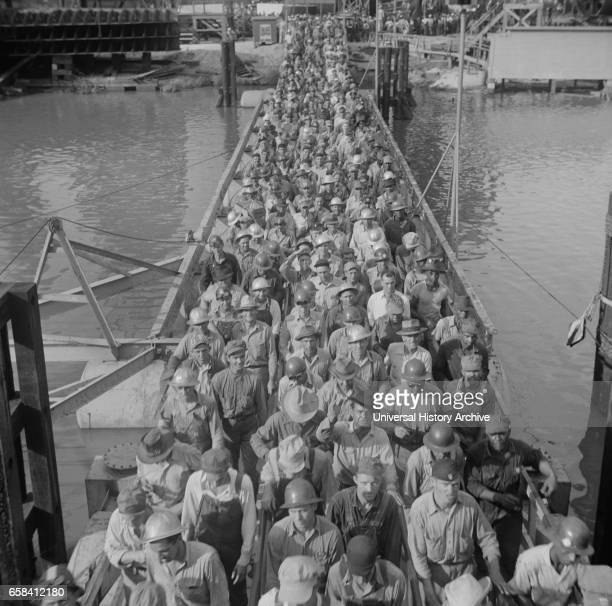 Workers Leaving Pennsylvania Shipyards Beaumont Texas USA John Vachon for Office of War Information May 1943