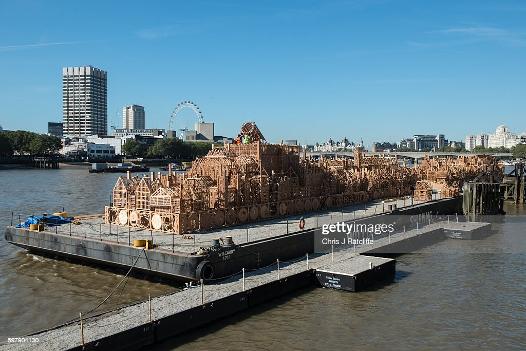 Sculpture of 17th Century London Skyline Is Put Into Place On The River Thames : News Photo