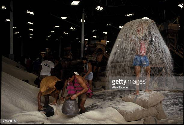 Workers loading aromatic rice into sacks for export at a rice warehouse on the banks of the Chao Praya River in Bangkok Thailand 21st September 1984