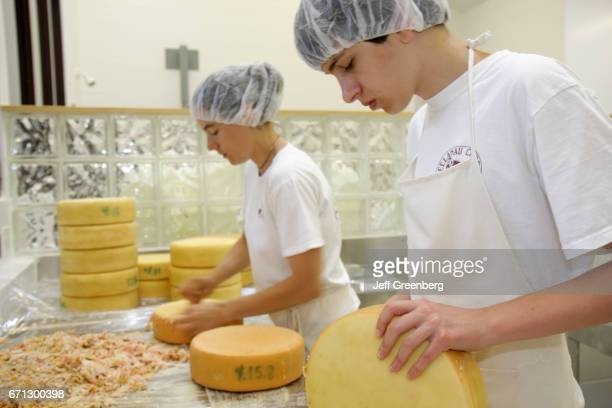 Workers making cheese at Leelanau Cheese Company