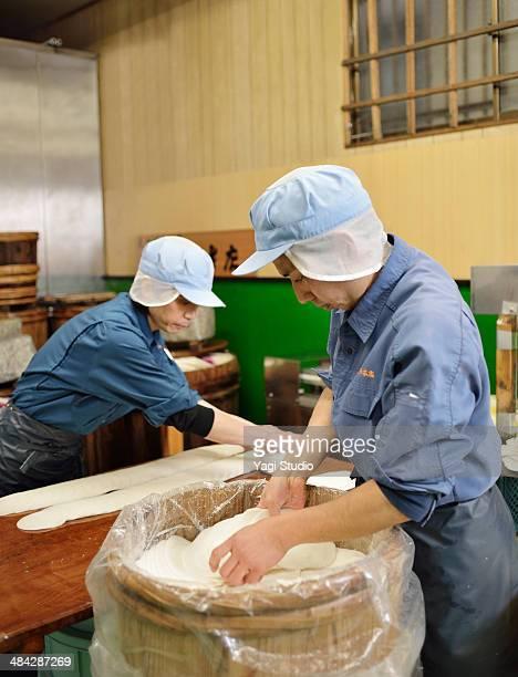 Workers making pickles of Japan,Kyoto