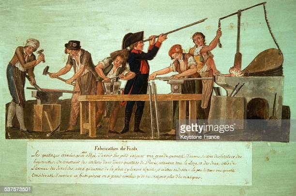 Workers manufacturing guns during the French Revolution France circa 1790