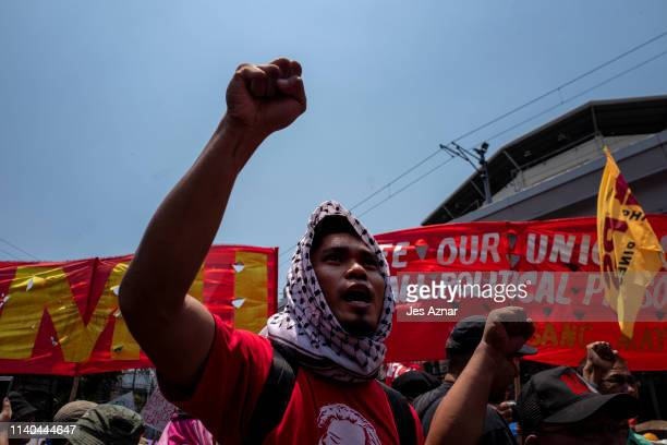 Workers march on the streets to mark International Labor Day on May 1, 2019 in Manila, Philippines.