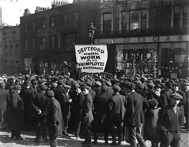 Workers marching through Deptford during the Unemployed...