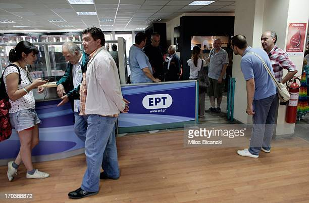 Workers occupy the main hall of the headquarters of the Greek public broadcaster ERT on June 12 2013 in Athens Greece Journalists have refused to...