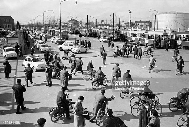 Workers of Fiat leaving the plant of Mirafiori Turin March 1963