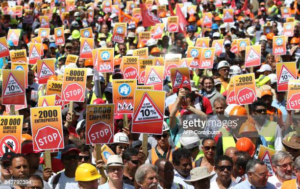 Workers of the construction and public works sector demonstrate on September 5 2017 in SaintDenis de la Reunion on the French overseas island of La...