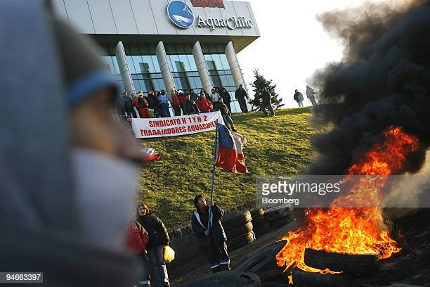 Workers of the Empresas Aquachile SA salmon farm protest outside of the plant in Puerto Montt Chile on July 13 2006