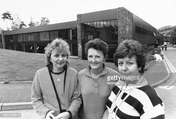Workers of the Laura Ashley textiles factory Headquarters in in Carno Powys pictured outside the factory September 1988
