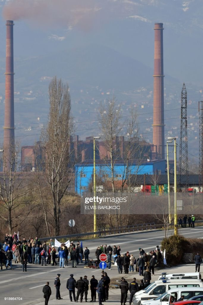Workers of Zenica Ironworks (Zeljezara Zenica) industry block one of the main road in Bosnia to protest against social conditions, during a strike on January 25, 2018, in Zenica. After Bosnia's war in the 1990s, business gradually went downhill like at many state-run firms hit by both the transition to a market economy for which they were not equipped, and mismanagement. According to trade unions, between 50,000 and 65,000 former or current employees of mostly state companies, such as hospitals, mines or public transport, will not get their pension, as the companies had not been paying into the state pension fund. Tax authorities estimate that unpaid social contributions amount to almost two billion euros, or half of Bosnia's annual national budget. /