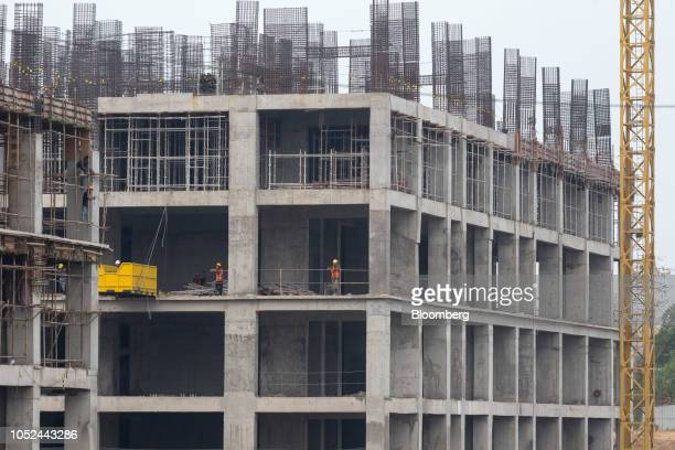 workers on a building at the under construction Meikarta project developed by Lippo Group in Bekasi Regency West Java Province Indonesia on Thursday...