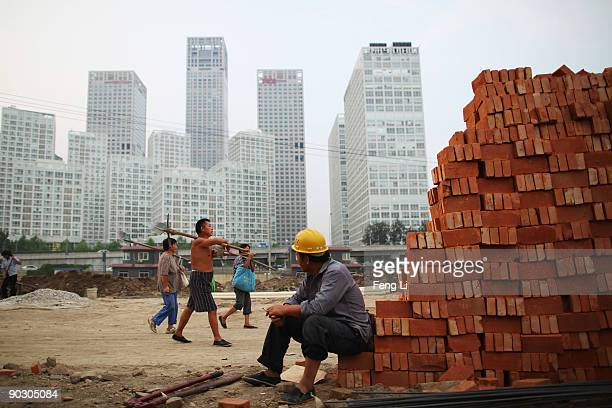 A workers on a construction site for a city park which will be completed before National Day near the center business district on September 2 2009 in...