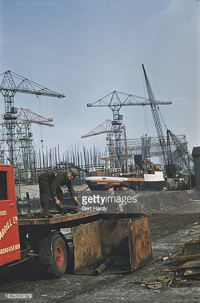 Workers on a lorry at the Harland Wolff shipyard in Belfast Northern Ireland June 1955 Original publication Picture Post 7825 Belfast pub 25th June...