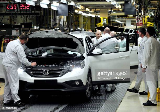 Workers on the Honda CRV production line at the Honda Plant in Swindon as Honda has announced a pound267 million investment programme at this plant...