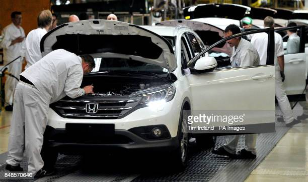 Workers on the Honda CRV production line at the Honda Plant in Swindon as Honda has announced a 267 million investment programme at this plant with...