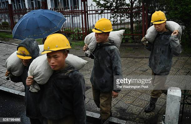 Workers on the streets in Pyongyang North Korea on May 6 2016