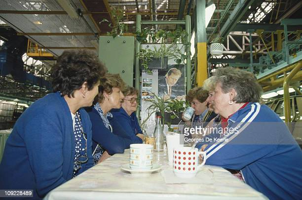 Workers on their tea break at the Skoda factory in Mlada Boleslav in the Czech Republic circa 1990