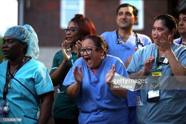 Workers outside of the Newham University Hospital on April 23 2020 in London United Kingdom Following the success of the Clap for Our Carers campaign...