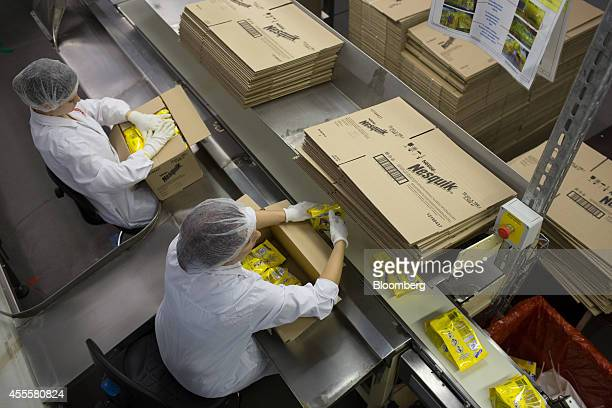 Workers pack boxes with packets of Nesquik confectionary during the final stages of processing at the Rossiya chocolate factory operated by Nestle SA...