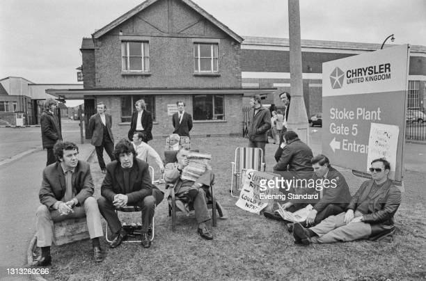 Workers picketing the Chrysler plant at Stoke in Coventry, asking the workers to support their striking colleagues at the Ryton plant, also in...