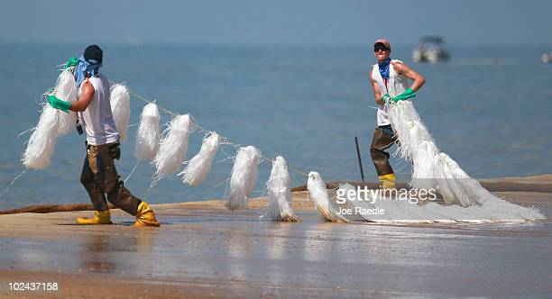 Workers place absorbent material on to the beach as oil washes ashore from the Deepwater Horizon oil spill in the Gulf of Mexico on June 26 2010 in...