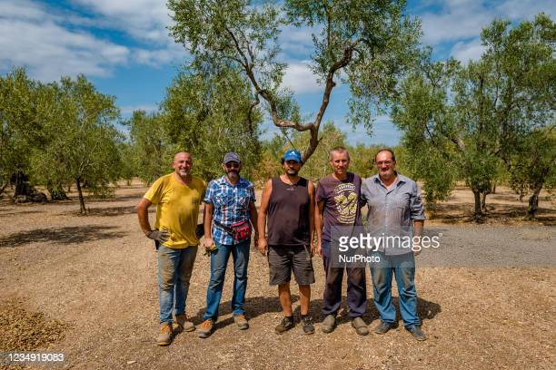 Workers pose for a photo after harvesting almonds in the Molfetta, Italy countryside in Molfetta, Italy on August 28, 2021. According to the latest...