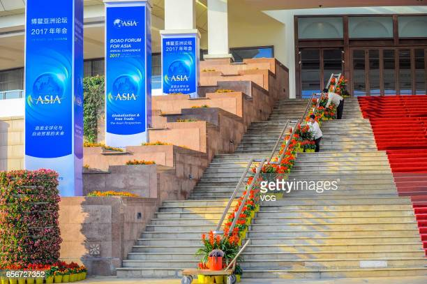 Workers prepare for the upcoming Boao Forum for Asia Annual Conference 2017 on March 22 2017 in Qionghai Hainan Province of China The Boao Form for...