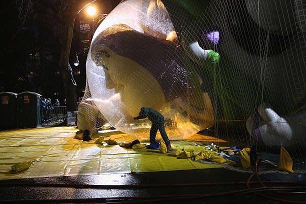 Floats For New York City's Annual Thanksgiving Day Parade Prepared In Central Park