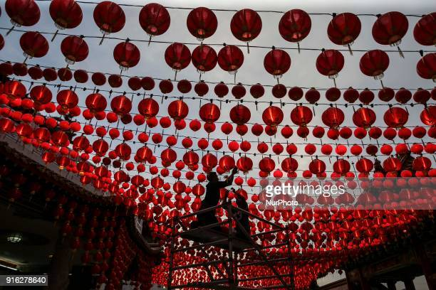 A workers prepare lanterns decoration at Thean Hou Temple Kuala Lumpur on 09 February 2018The Chinese Lunar New Year begins on 16 February and marks...