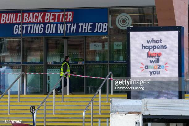 Workers prepare Manchester Central ahead of the Conservative party conference on October 01, 2021 in Manchester, England. The Conservative conference...