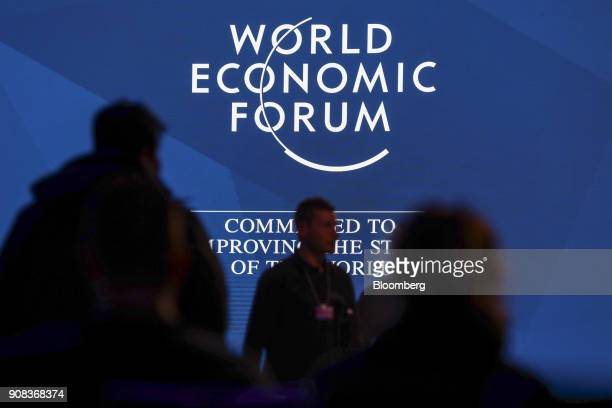 Workers prepare one of the stages in the congress center ahead of the World Economic Forum in Davos Switzerland on Sunday Jan 21 2018 World leaders...