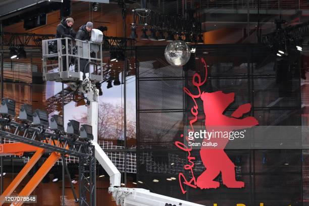 Workers prepare the Berlinale Palace venue prior to the 70th Berlinale International Film Festival on February 18 2020 in Berlin Germany The 70th...